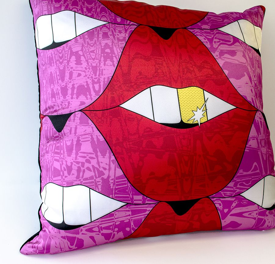 Allison Eden- Pucker Up Urban Lips Pillow